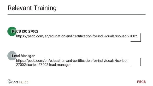 Relevant Training PECB GDPR https://pecb.com/en/education-and-certification-for-individuals/gdpr CDPO https://pecb.com/en/...