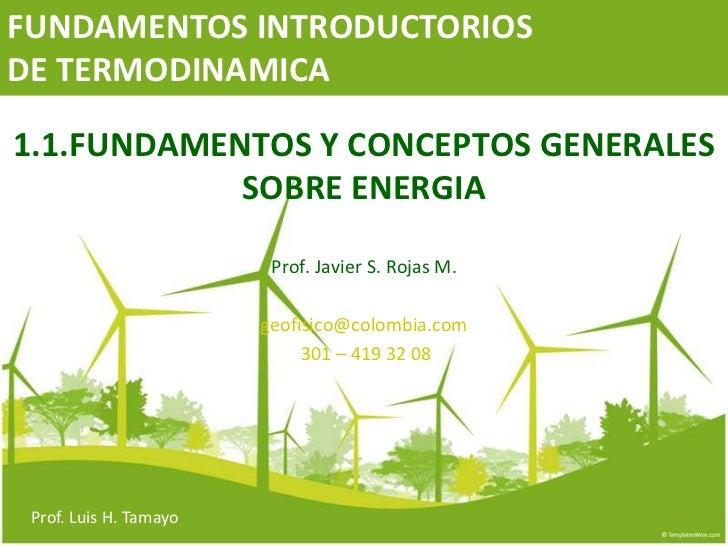 FUNDAMENTOS INTRODUCTORIOSDE TERMODINAMICA1.1.FUNDAMENTOS Y CONCEPTOS GENERALES            SOBRE ENERGIA                  ...