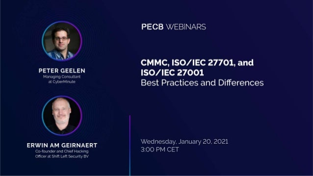 • Introduction • ISO/IEC 27001 & 27701- quick recap (prev. sessions) • Introduction to CMMC • CMMC components • How to imp...