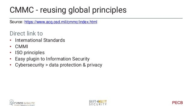 Source: https://www.acq.osd.mil/cmmc/index.html CMMD, reference to other sources • CERT Resilience Management Model (CERT ...