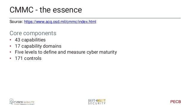 CMMC vs NIST CMM-C • C = Certification CMMC vs NIST • CMMC (DOD) - NIST (Dpt of Commerce) • CMMC has accredited audit, NIS...