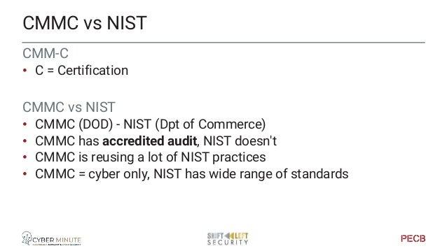 CMMC vs NIST vs ISO CMMC NIST ISO27001+ Region US focus US focus International Target technology Cybersecurity Wide range ...