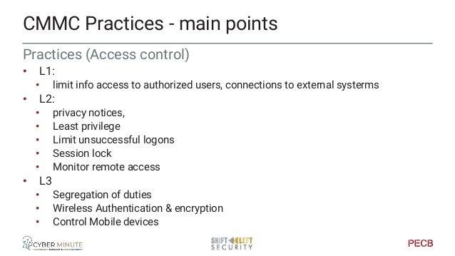 Practices (AC) • L4 • Control information flows • Review access permissions • L5 • Rogue Wi-Fi control CMMC Practices - ma...