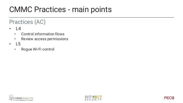 Practices (Asset Management) • L3 • Procedures • L4 • Discovery CMMC Practices - main points