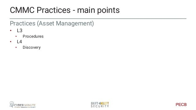 Practices (Audit & accountability) • L2 • Trace individual users • L3 • Review logs • Collect audit info • Correlate info ...