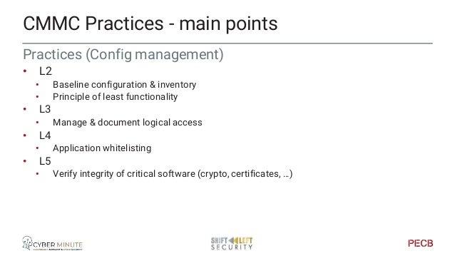 Practices (Identification & AuhtN) • L1 • Classify users • Authentication to allow access • L2 • Password management • L3 ...