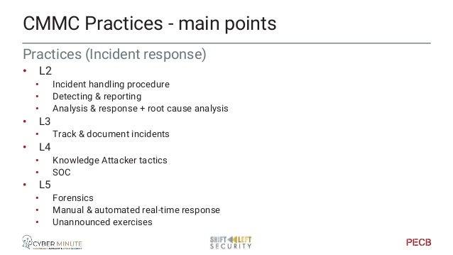 Practices (Media protection) • L1 • Sanitize & destroy • L2 • Protect & limit access • L3 • Marking • Prohibit mobile medi...