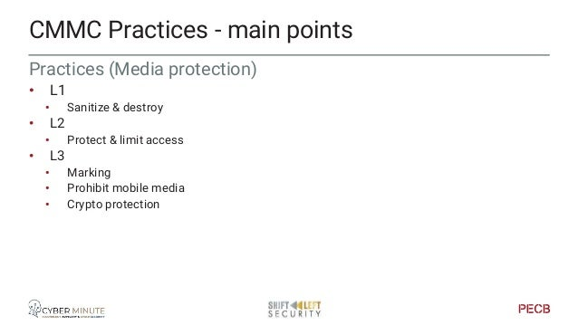 Practices (Personnel security) • L2 • Screening CMMC Practices - main points