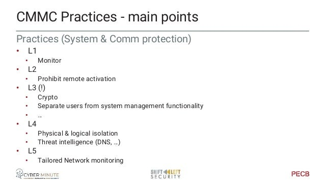 Practices (System & Info integrity) • L1 • Monitor system flaws • L2 • Monitor security alerts • L3 • Spam protection • Em...
