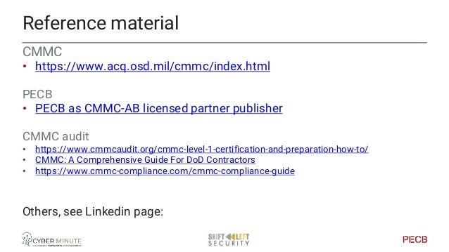 Reference material Other • Cybersecurity Maturity Model Certification (CMMC) v1.02 & NIST 800-171 rev2 Compliance CMMI • h...