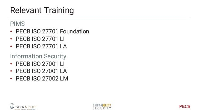 Relevant Training Data protection • PECB Certified Data protection Officer (GDPR) Privacy • PECB ISO29100 LI