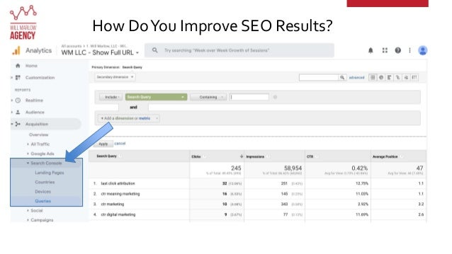 Analyze your audience How DoYou Improve SEO Results? 3 c Make sure you don't rank for the keywords already b Buy or target