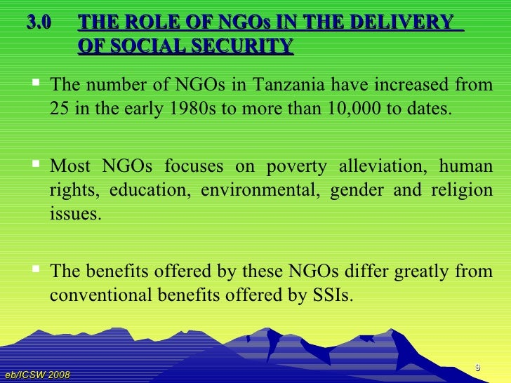service delivery of ngos Civic organizations such as ngos and cbos are water supply and sanitation service delivery actively providing services to poor neighborhoods.