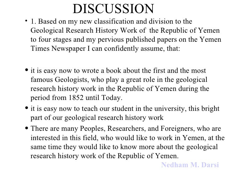 DISCUSSION 1.  Based on my new classification and division to the Geological Research History Work of  the Republic of Yem...