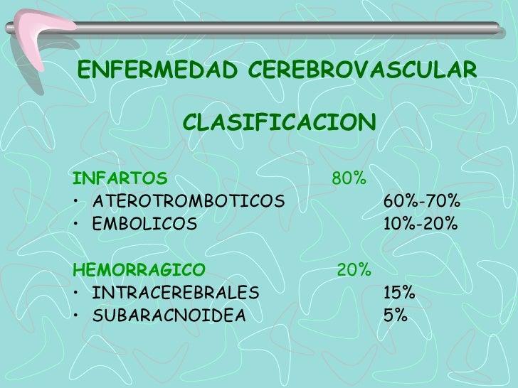 ENFERMEDAD CEREBROVASCULAR         CLASIFICACIONINFARTOS             80%• ATEROTROMBOTICOS         60%-70%• EMBOLICOS     ...