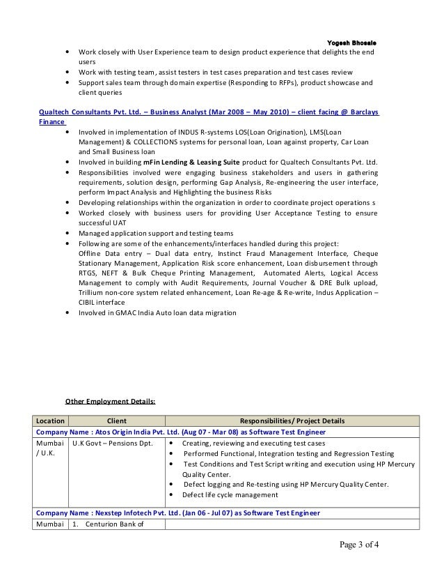 Business Analyst Loan Origination System Resume