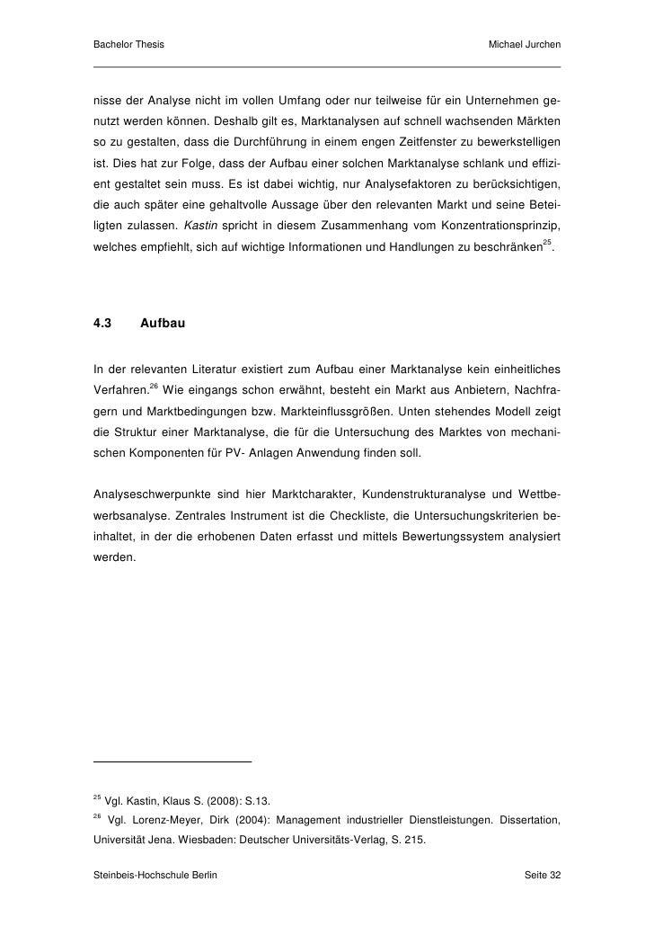 bachelor thesis marktanalyse aufbau