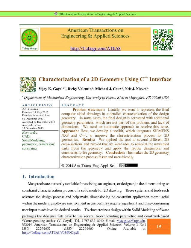 American Transactions on Engineering & Applied Sciences http://TuEngr.com/ATEAS Characterization of a 2D Geometry Using C+...