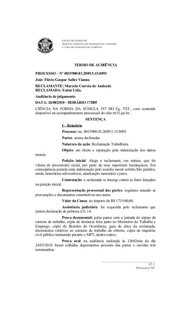 JUSTIÇA DO TRABALHO TRIBUNAL REGIONAL DO TRABALHO DA 15ª REGIÃO 6ª VARA DO TRABALHO DE CAMPINAS  TERMO DE AUDIÊNCIA PROCES...