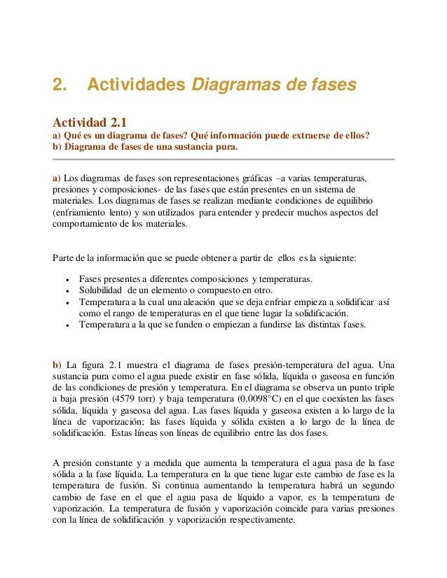 2. Actividades Diagramas de fases Actividad 2.1 a) Qué es un diagrama de fases? Qué información puede extraerse de ellos? ...