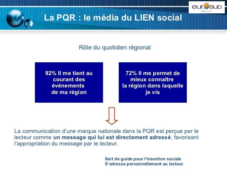 La PQR : le média du LIEN social Rôle du quotidien régional 72% Il me permet de mieux connaître  la région dans laquelle j...