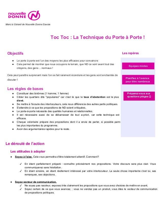 MerciàGérarddeNouvelleDonneSavoie  TocToc:LaTechniqueduPorteàPorte!   Objectifs Lesrepères ● Lep...
