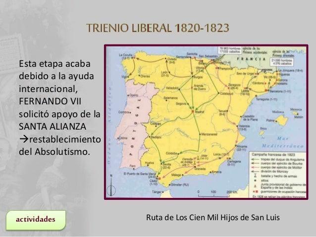 • FERNANDO VII muere en 1833. • Características del reinado de Isabel II: – Constitución escrita (variará según el partido...