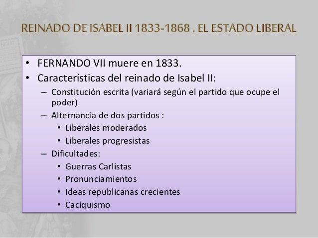 """• Revolución de 1868 """"LA GLORIOSA"""": triunfo del Liberalismo radical. (ISABEL II se exilia). • Constitución de 1869: – Más ..."""