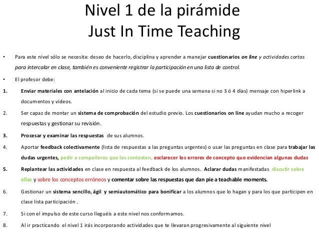 Resultados del JITT • Los alumnos trabajan más durante todas las semanas de cuatrimestre y participan más en clase. • Los ...