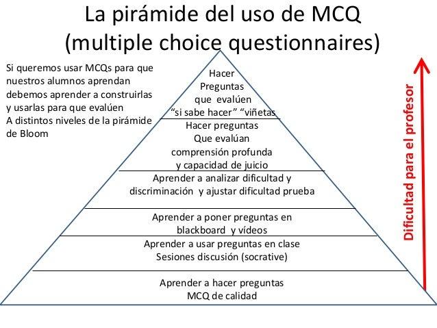 Escalar la pirámide del MCQ Hacer preguntas • Haz buenas preguntas MCQ • Haz preguntas MCQ para evaluación formativa y dis...