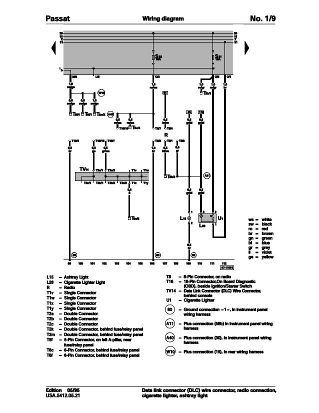 001 volkswagen passat official factory repair manual wiring diagrams rh slideshare net wiring diagram 2 speed motor wiring diagram ls1040