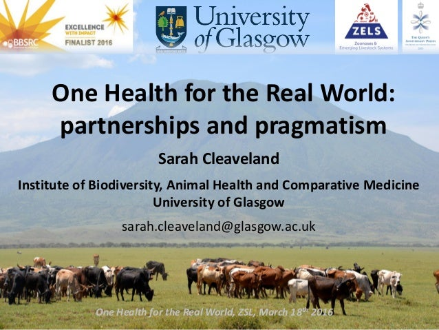 One Health for the Real World: partnerships and pragmatism Sarah Cleaveland Institute of Biodiversity, Animal Health and C...