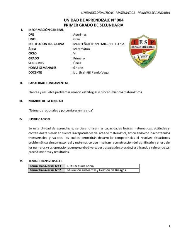 002. unidad de aprendizaje n° 004- 2014 - primer grado