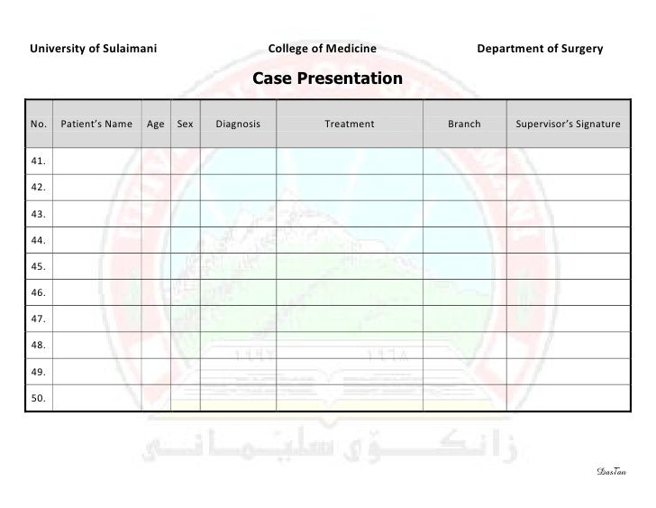 Surgery 6th Year, Requirement Sheet (Case Presentation