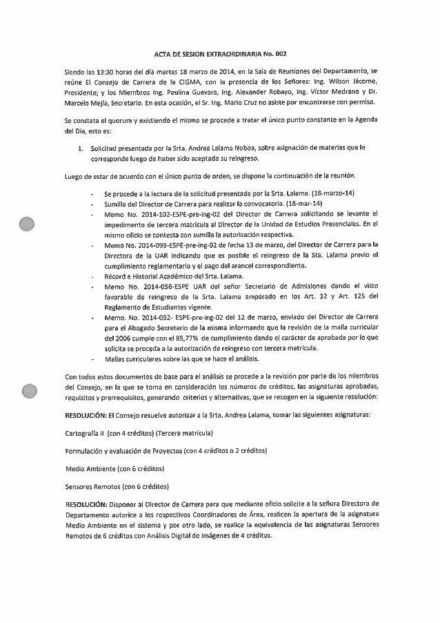 ACTA DE SESION EXTRAORDINARIA No.  002  Siendo las 13:30 horas del dia martes 18 marzo de 2014, en la Sala de Reuniones de...