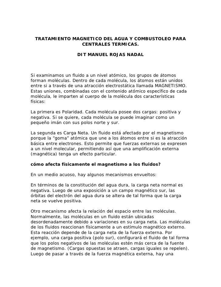 TRATAMIENTO MAGNETICO DEL AGUA Y COMBUSTOLEO PARA                  CENTRALES TERMICAS.                       DIT MANUEL RO...