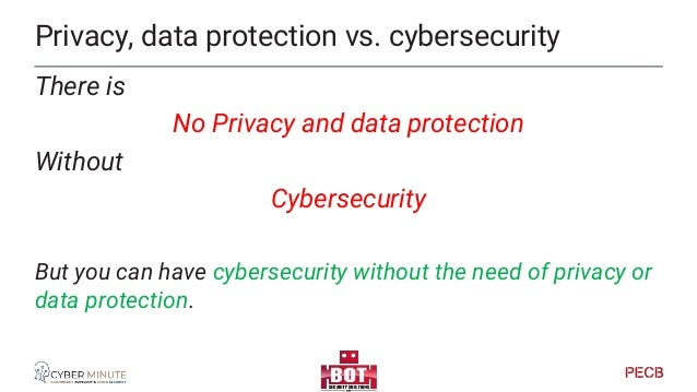 Privacy & Data Protection vs Enterprise security In many cases • Privacy & data protection is targeted to people, persons ...