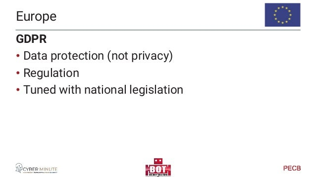 Europe Other legislation that impact privacy & data protection • eCommunications & eCommerce • ePrivacy directive (in revi...