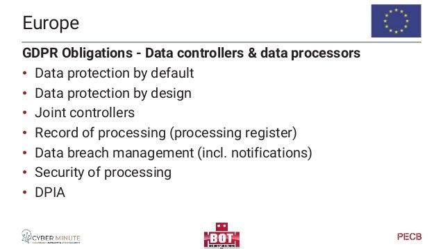 Europe GDPR Obligations - Data controllers & data processors • DPO (data protection officer) Designation (public authoriti...