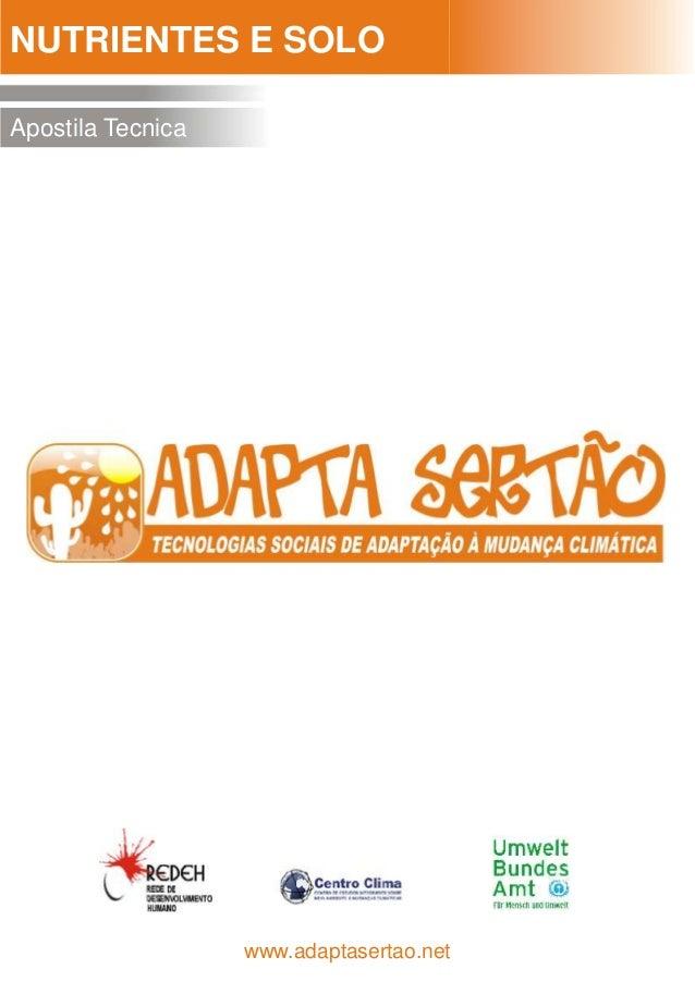 NUTRIENTES E SOLOApostila Tecnica                   www.adaptasertao.net