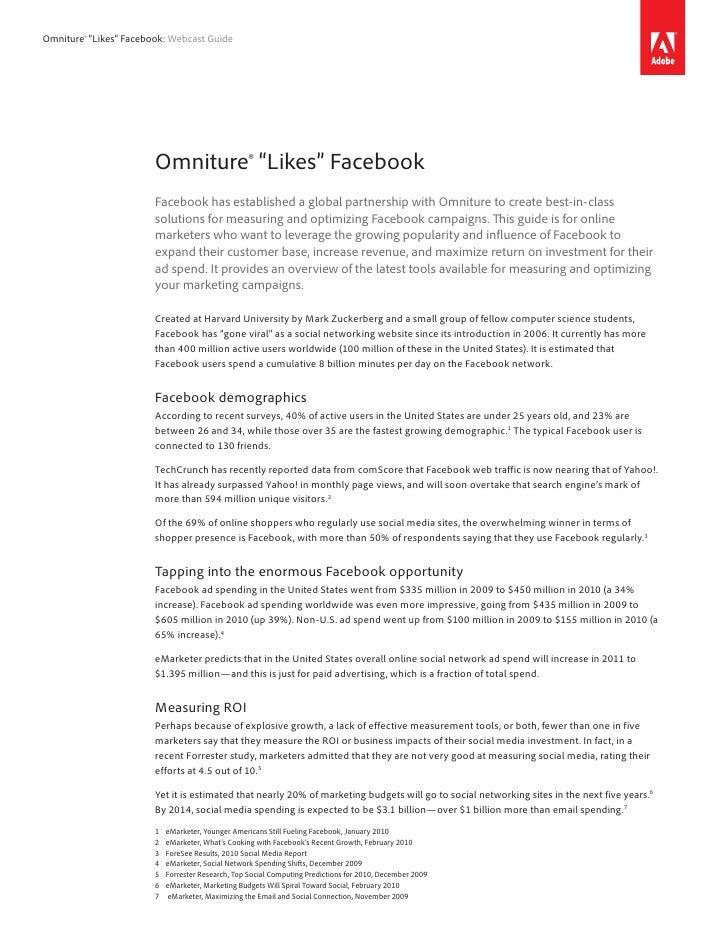 "Omniture® ""Likes"" Facebook: Webcast Guide                             Omniture® ""Likes"" Facebook                         F..."