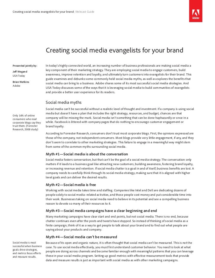 Creating social media evangelists for your brand: Webcast Guide                            Creating social media evangelis...