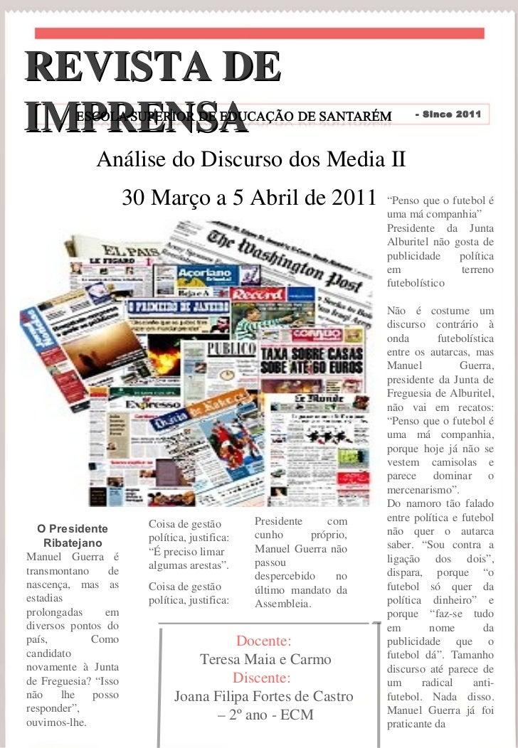 """Análise do Discurso dos Media II """" Penso que o futebol é uma má companhia"""" Presidente da Junta Alburitel não gosta de publ..."""
