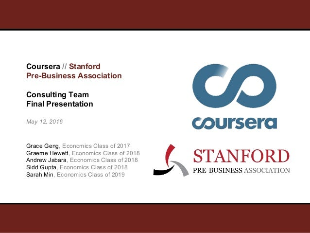 Coursera // Stanford Pre-Business Association Consulting Team Final Presentation May 12, 2016 Grace Geng, Economics Class ...