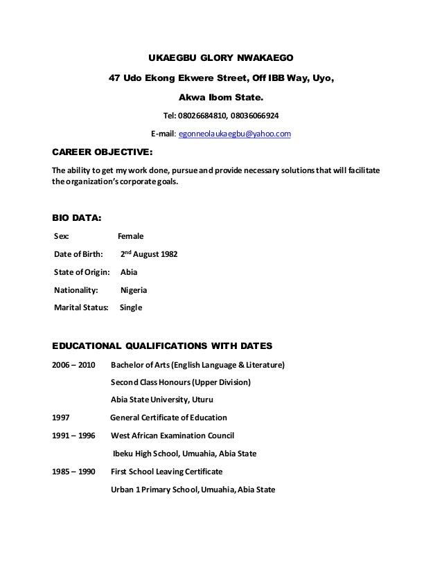 UKAEGBU GLORY NWAKAEGO 47 Udo Ekong Ekwere Street, Off IBB Way, Uyo, Akwa Ibom State. Tel: 08026684810, 08036066924 E-mail...