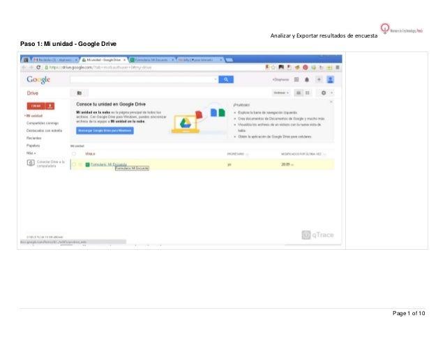 Analizar y Exportar resultados de encuesta Paso 1: Mi unidad - Google Drive  Page 1 of 10
