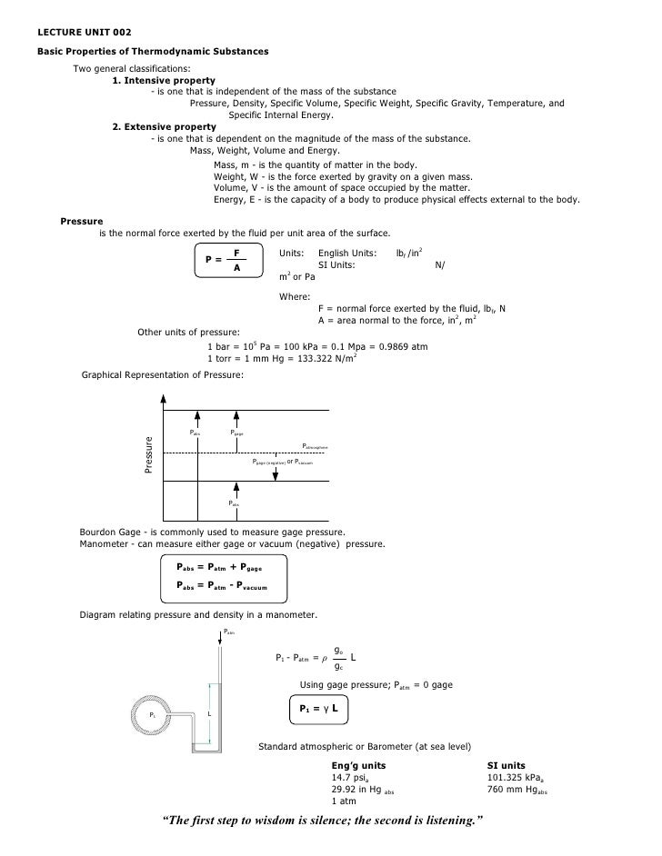 LECTURE UNIT 002Basic Properties of Thermodynamic Substances      Two general classifications:             1. Intensive pr...