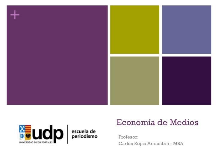 Economía de Medios Profesor: Carlos Rojas Arancibia - MBA