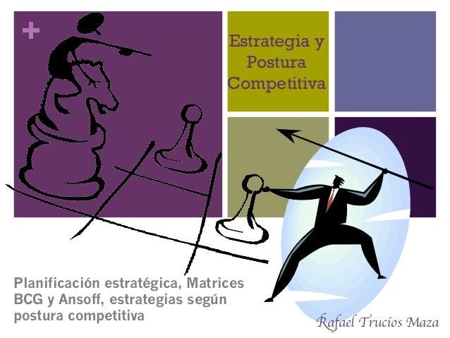 + Estrategia y Postura Competitiva Planificación estratégica, Matrices BCG y Ansoff, estrategias según postura competitiva...