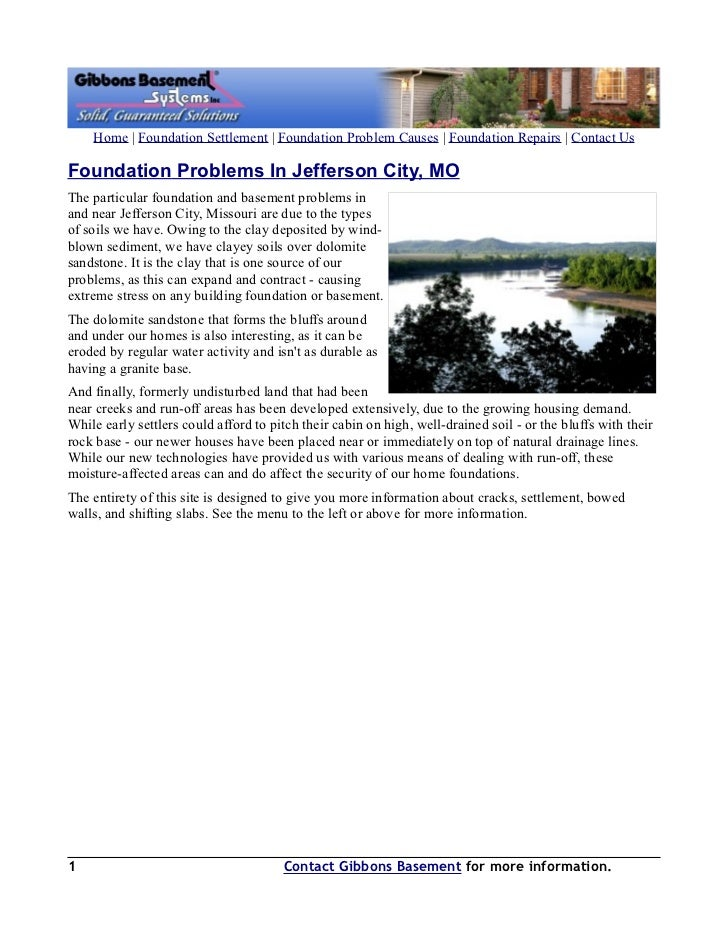 Home | Foundation Settlement | Foundation Problem Causes | Foundation Repairs | Contact UsFoundation Problems In Jefferson...